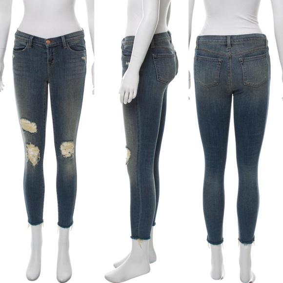 J Brand Denim - J Brand Med. Wash Distressed Mid-Rise Skinny Jeans